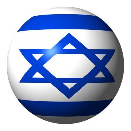 Israel flag sphere isolated on white illustration illustration