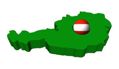 austrian flag: Austrian flag sphere with Austria map illustration