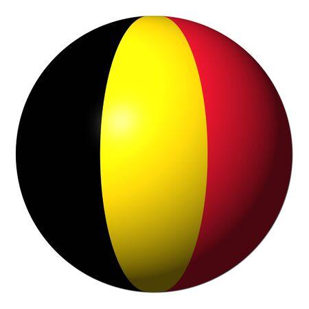spherical: Belgian flag sphere isolated on white illustration Stock Photo