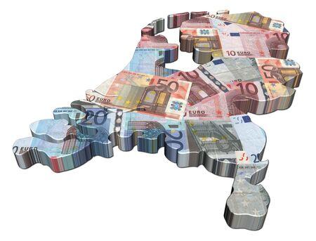 Netherlands map 3d render with euros illustration illustration