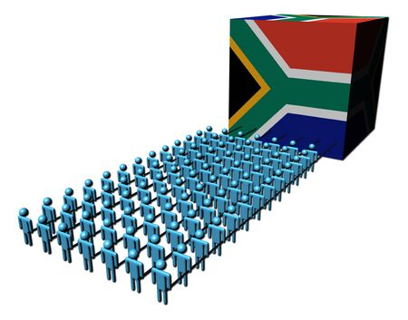 teamwork abstract people pulling South African flag cube illustration illustration