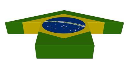 inwards: Brazil flag inwards arrow on white illustration Stock Photo