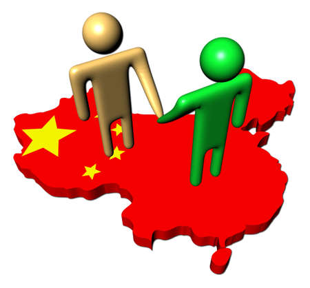 abstract people shaking hands on China map flag illustration illustration