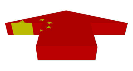 inwards: Chinese flag inwards arrow on white illustration Stock Photo