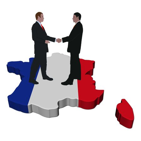 people shaking hands on France map flag Stock Photo - 6290820