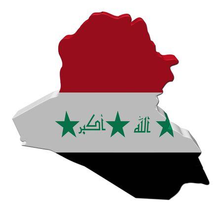 Iraq map flag 3d render on white illustration illustration