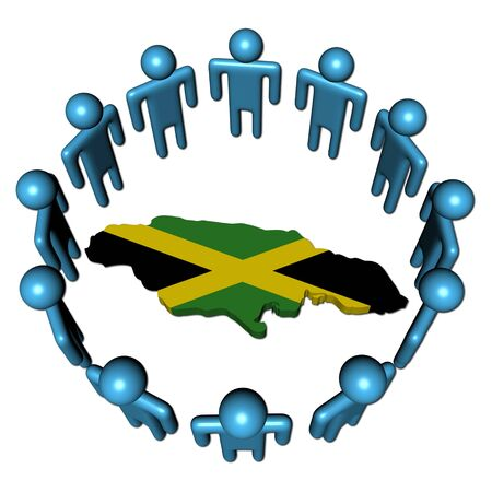 Circle of people around Jamaica map flag photo