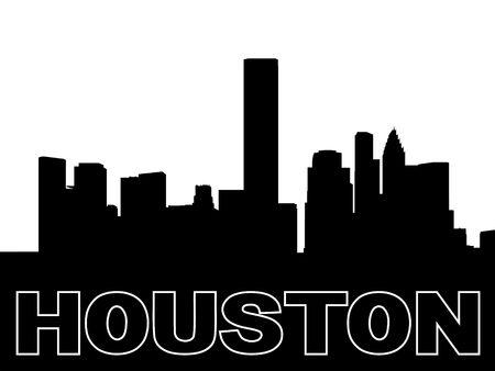 houston: Houston skyline black silhouette on white Stock Photo