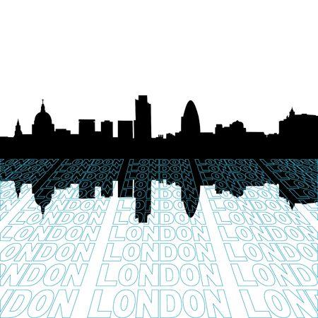 視点テキスト アウトライン前景とロンドンのスカイライン 写真素材