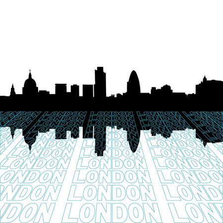 London skyline with perspective text outline foreground