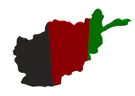 Afghanistan map flag 3d render on white photo