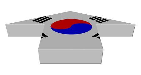 inwards: South Korea flag inwards arrow on white Stock Photo