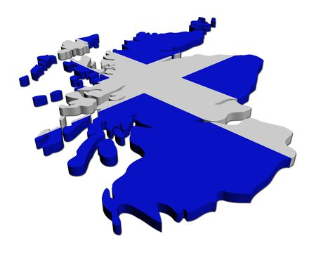 scottish: Scotland map flag 3d render on white illustration Stock Photo