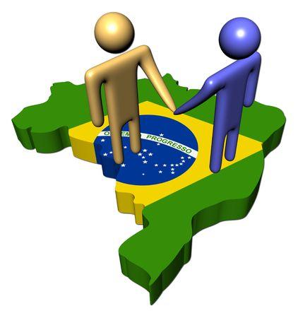 people shaking hands on Brazil map flag illustration illustration