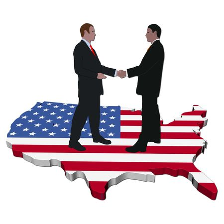 Business people shaking hands on USA map flag Stock Photo