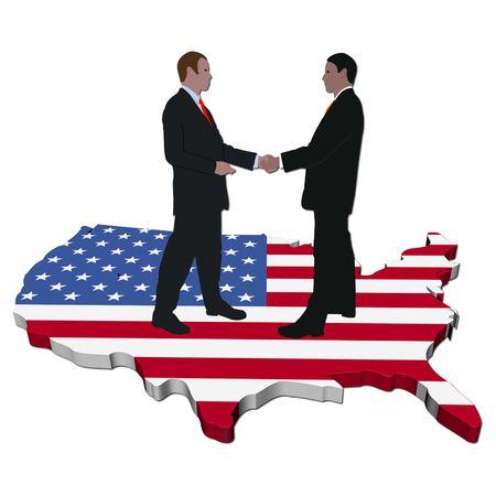 Zaken mensen handen op de Verenigde Staten schudden vlag toewijzen