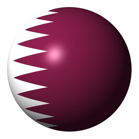 Qatar flag sphere isolated on white illustration Stock Photo