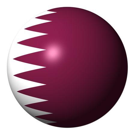 Vlag van Qatar sphere geïsoleerd op witte illustratie Stockfoto