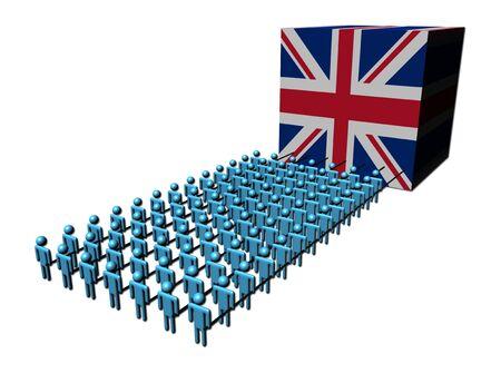 teamwork people pulling British flag cube Stock Photo - 6307637