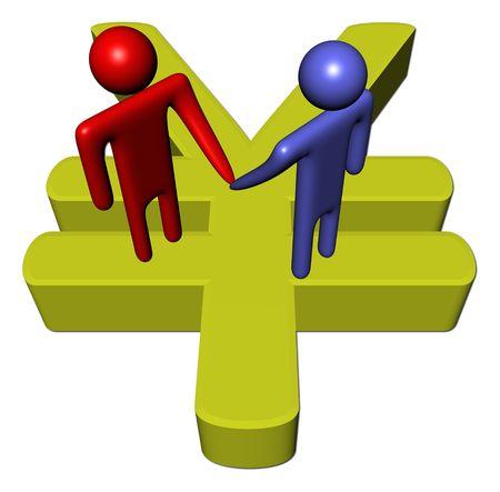 men meeting with handshake on giant Yen symbol Stock Photo - 6316936