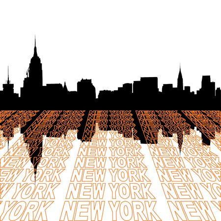 テキスト枠の視点のミッドタウン マンハッタンのスカイライン