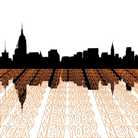 Midtown Manhattan skyline with perspective text outline
