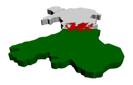 welsh flag: Wales map flag 3d render on white illustration