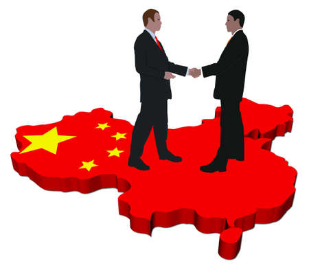 negotiation business: Business people shaking hands on China map flag illustration