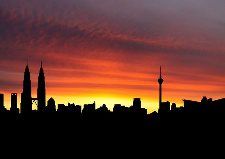 Kuala Lumpur skyline at sunset with beautiful sky illustration