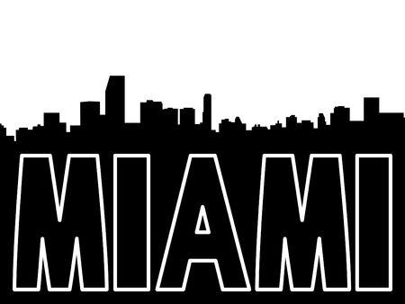 Miami skyline black silhouette on white