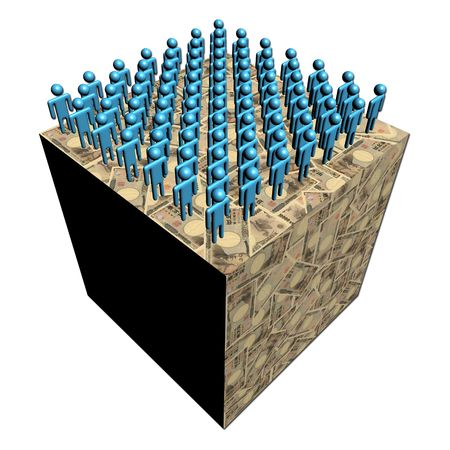 multitude: workforce on giant Japanese Yen cube illustration