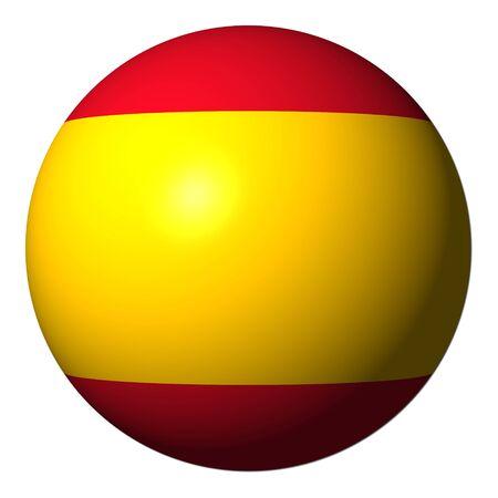 spanish flag: Spain flag sphere isolated on white illustration