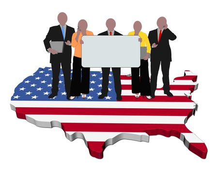 business team with sign on USA map flag illustration illustration