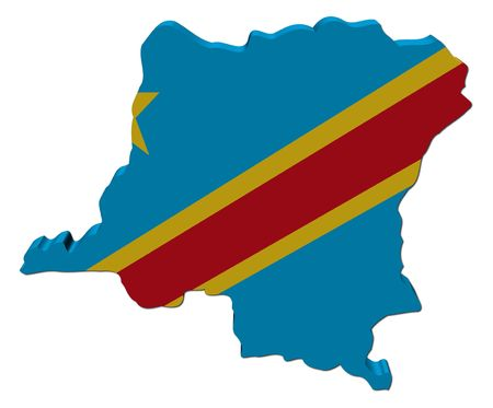 democratic: Democratic republic of Congo map flag 3d render on white illustration