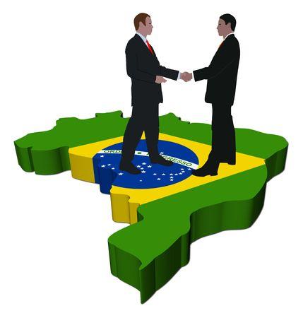 brazilian: Business people shaking hands on Brazil map flag illustration Stock Photo