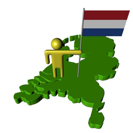 abstract person with Dutch flag on map illustration Stock Illustration - 6344474