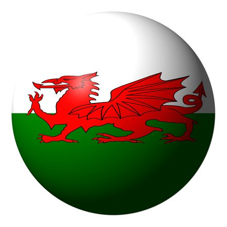 welsh flag: Sfera isolato su bianco illustrazione di bandiera gallese