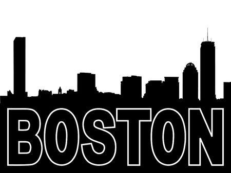白にボストン スカイラインの黒いシルエット 写真素材