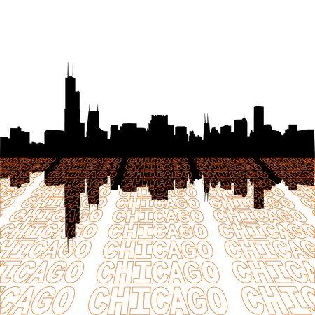 視点テキスト アウトライン前景とシカゴのスカイライン