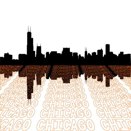 Chicago skyline with perspective text outline foreground photo