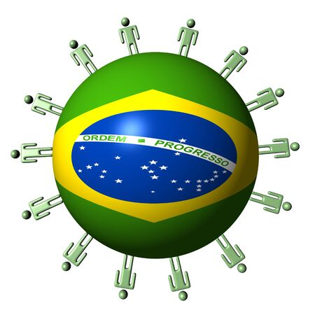 circle of abstract people around Brazilian flag sphere illustration illustration