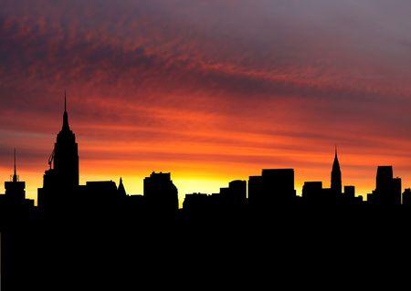 midtown: Midtown Manhattan skyline at sunset with beautiful sky illustration