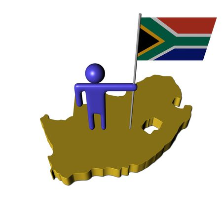 south african flag: abstract person with South African flag on map illustration Stock Photo