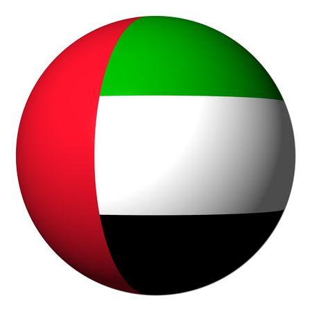 the emirates: Bandera de los Emiratos �rabes Unidos esfera aislado en ilustraci�n blanco Foto de archivo