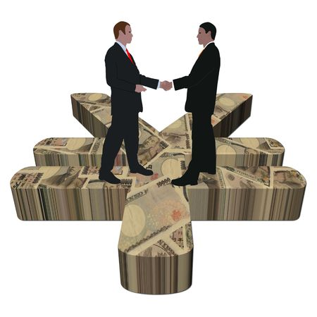 business men meeting on giant Japanese Yen symbol illustration Stock Illustration - 6363202