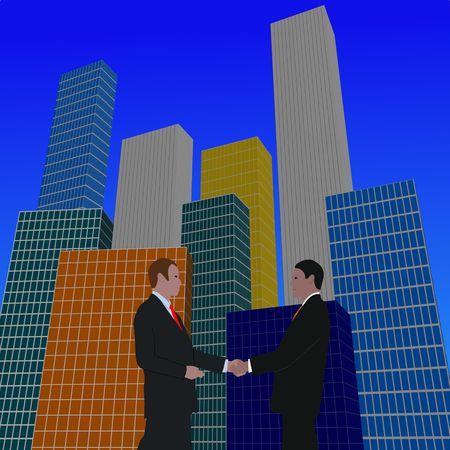 negotiator: business meeting with skyline