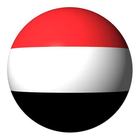 yemen: Yemen flag sphere isolated on white illustration