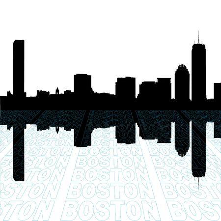 視点テキスト アウトライン前景とボストン スカイライン 写真素材