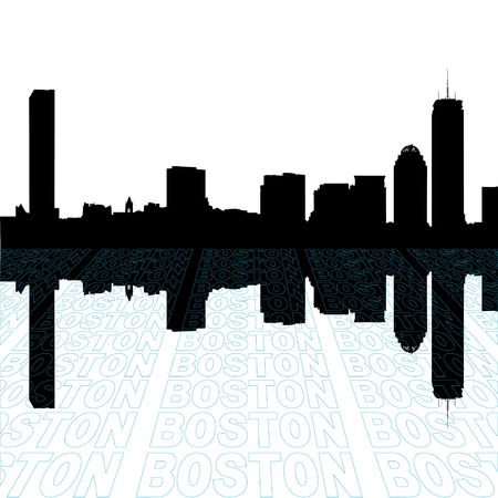 boston skyline: Boston skyline with perspective text outline foreground