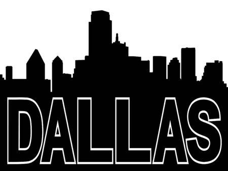 Dallas skyline black silhouette on white photo